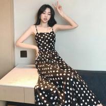 Women's large Summer 2021 White, black Average size Dress singleton  commute Self cultivation Socket Sleeveless Korean version One word collar other Q11136397 Medium length zipper