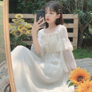 Women's large Spring 2021 white Average size Dress singleton  commute Self cultivation Socket three quarter sleeve Korean version square neck pagoda sleeve Short skirt