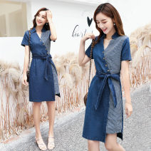 Dress Spring 2020 S M L XL XXL longuette singleton  Short sleeve commute V-neck middle-waisted Solid color Socket A-line skirt other Others 25-29 years old Type A Yiyan Korean version 81% (inclusive) - 90% (inclusive) Denim cotton Cotton 90% polyester 10% Pure e-commerce (online only)