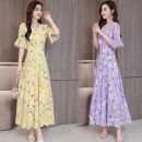 Dress Summer 2021 Purple milk silk fabric, yellow milk silk, purple ice silk, yellow ice silk, vest M,L,XL,2XL,3XL,4XL 25-29 years old