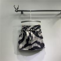 skirt Summer 2021 S,M,L,XL Black ash Short skirt Versatile High waist A-line skirt other Type A Denim cotton Tassel, pocket, asymmetric, worn, button, zipper