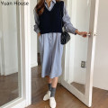 Vest Autumn 2020 Blue dress, Navy vest, Navy Vest + blue dress S,M,L,XL have cash less than that is registered in the accounts V-neck commute Solid color I-shaped 18-24 years old acrylic fibres