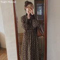 Dress Winter 2020 Brown, beige, light khaki S,M,L,XL Mid length dress singleton  Long sleeves commute Crew neck High waist Decor zipper A-line skirt routine Others 18-24 years old Type A Other / other Korean version Lace up, bandage, print