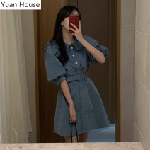 Dress Summer 2021 Blue, black S,M,L Short skirt singleton  elbow sleeve commute Doll Collar High waist Solid color Single breasted A-line skirt puff sleeve Others 18-24 years old Type A Other / other Korean version Button, button 51% (inclusive) - 70% (inclusive) other cotton