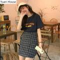 skirt Summer 2020 S,M,L,XL Short skirt commute High waist A-line skirt lattice Type A Other / other Korean version