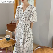 Dress Summer 2020 white S,M,L Mid length dress singleton  Short sleeve commute V-neck High waist Broken flowers other Big swing puff sleeve Others 18-24 years old Type A Korean version Bowknot, lace up, stitching, bandage, button, print 71% (inclusive) - 80% (inclusive) other