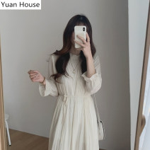 Dress Autumn 2020 Apricot, black S,M,L,XL Mid length dress singleton  Long sleeves commute Solid color Socket A-line skirt routine Others 18-24 years old Type A Korean version Chiffon