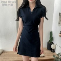 Dress Summer 2021 Navy Blue S,M,L,XL Short skirt singleton  Short sleeve commute Polo collar High waist Solid color Socket A-line skirt routine Others 18-24 years old Type A Korean version 71% (inclusive) - 80% (inclusive) cotton