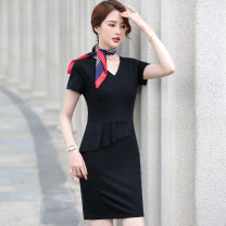 Dress Summer 2021 Black dress (silk scarf) S M L XL 2XL 3XL 4XL 5XL Middle-skirt singleton  Short sleeve commute V-neck High waist Solid color Socket One pace skirt routine Others 25-29 years old Huan Yi Xian Ol style AMZ-580TM 31% (inclusive) - 50% (inclusive) other nylon