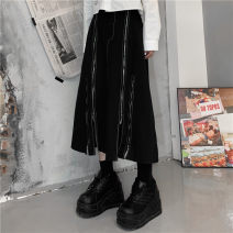 skirt Summer 2021 M, L black Mid length dress commute High waist Type A 18-24 years old 81% (inclusive) - 90% (inclusive) cotton chain Korean version