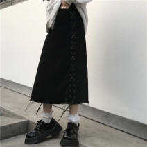 skirt Spring 2021 S,M,L,XL black Mid length dress Versatile Solid color 18-24 years old