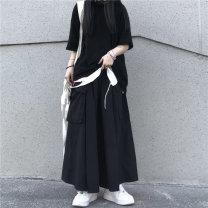 Casual pants black M, L Summer 2021 Ninth pants Wide leg pants High waist original routine Under 17 96% and above pocket polyester fiber Asymmetry
