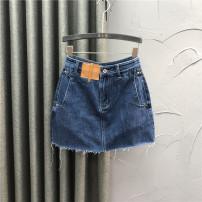 skirt Summer 2021 S,M,L,XL,2XL Blue, black Short skirt Versatile High waist A-line skirt Solid color Type A JLD2020520 More than 95% Denim Ocnltiy cotton