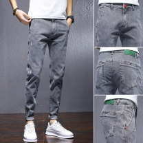 Jeans Youth fashion Emperor wolf cattle 28 29 30 31 32 33 34 36 HQ#6007 routine Micro bomb Regular denim HQ#6007-0228Q trousers Cotton 74.3% polyester 24.5% others 1.2% summer youth middle-waisted Slim feet Youthful vigor 2021 Little straight foot zipper washing Five bags Hand rub, scrape and wash