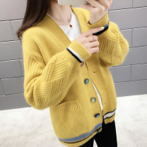Wool knitwear Autumn of 2019 S,M,L,XL,2XL,3XL Blue, white, black, red, khaki, yellow Long sleeves singleton  Cardigan silk 31% (inclusive) - 50% (inclusive) Regular routine commute easy other routine other Single breasted Korean version L9157 25-29 years old Pocket, stitching, thread, button