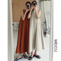Dress Summer 2021 Beige, Tan S,M,L,XL longuette singleton  Sleeveless commute Crew neck Loose waist Solid color Socket other 18-24 years old Type H Korean version 51% (inclusive) - 70% (inclusive)