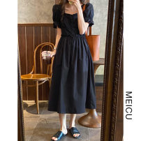 Dress Summer 2021 black S, M Mid length dress singleton  Short sleeve commute square neck High waist Solid color Single breasted other puff sleeve Others 18-24 years old Type A Korean version