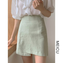 skirt Summer 2021 S,M,L,XL Fruit green Short skirt Versatile High waist A-line skirt Solid color Type A 18-24 years old 51% (inclusive) - 70% (inclusive)