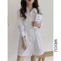 shirt White, blue S,M,L,XL Autumn 2020 polyester fiber 51% (inclusive) - 70% (inclusive) Long sleeves Versatile Medium length Polo collar Single row multi button shirt sleeve Solid color 18-24 years old Straight cylinder Frenulum