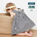 Dress Black and white female Tomybalabala leisure 73cm,80cm,90cm,100cm,110cm Cotton 100% summer Skirt / vest lattice cotton A-line skirt Class A 12 months, 6 months, 9 months, 18 months, 2 years old Chinese Mainland Guangdong Province