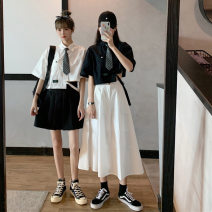 Dress Summer 2020 Average size s ml Middle-skirt Two piece set Short sleeve commute Polo collar High waist Solid color Single breasted other other Others 18-24 years old Wenrou Korean version F202070315 More than 95% other Other 100% Pure e-commerce (online only)