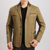 Jacket Other / other Business gentleman Khaki, antique green 170/M,175/L,180/XL,185/XXL,190/XXXL routine easy Home Spring and Autumn Polyester 100% Long sleeves Wear out tailored collar Business Casual middle age Single breasted 2017 Cloth hem Digging bags with lids