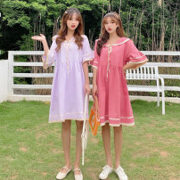 Dress Summer 2021 2663 watermelon red 2663 violet Average size Mid length dress singleton  Short sleeve commute Crew neck Loose waist Solid color Socket A-line skirt routine Others 18-24 years old Juan Duo Splicing A210320015 More than 95% other Other 100% Pure e-commerce (online only)