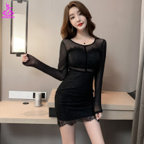 Dress Spring 2021 Khaki black S M L XL XXL Short skirt singleton  Long sleeves commute Crew neck High waist Solid color Socket One pace skirt routine 25-29 years old Type A Xue Shili Splicing mj1007 More than 95% Lace nylon Polyamide fiber (nylon) 100% Pure e-commerce (online only)