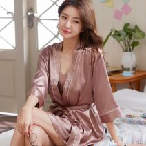 Nightdress You Muya 160(M) 165(L) 170(XL) 175(XXL) luxurious Nine point sleeve pajamas Short skirt summer Solid color youth V-neck Polyester (polyester) lace 81% (inclusive) - 95% (inclusive) Lace fabric 818 bean paste with thread 200g and below Spring of 2019 Exclusive payment of tmall