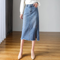 skirt Spring 2021 26 27 28 29 30 31 32 33 34 36 38 40 Blue black Mid length dress commute High waist A-line skirt Solid color Type A 25-29 years old 3348-2 71% (inclusive) - 80% (inclusive) Denim Kalaboo / kalaboo cotton tassels Korean version Cotton 77.6% regenerated cellulose 12% polyester 10.4%