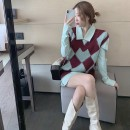 Dress Spring 2021 Light green shirt + vest, light green shirt, coffee check diamond vest S [quality version], m [quality version], l [quality version], XL [quality version] Short skirt Two piece set Long sleeves commute V-neck High waist Solid color A-line skirt shirt sleeve Others 18-24 years old