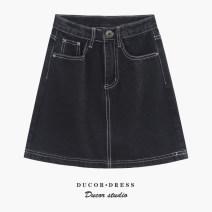skirt Summer 2021 S,M,L,XL black Short skirt Versatile High waist Denim skirt Solid color Type A 25-29 years old 51% (inclusive) - 70% (inclusive) Denim other Button