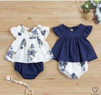 suit Other / other Blue, white Clap, 70cm, 100cm, 80cm-100cm, 1 piece / 100cm female summer Europe and America Sleeveless + pants 2 pieces Thin money No model Socket nothing Broken flowers children Expression of love 3 months, 6 months, 12 months, 18 months