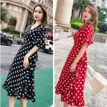 Women's large Summer 2020, spring 2020 Black, red L size 100-118 Jin, xl118-135 Jin, 2xl135-155 Jin, 3xl155-175 Jin, 4xl175-200 Jin, XXS Dress singleton  commute Self cultivation thin Cardigan Short sleeve Dot Korean version V-neck Medium length 25-29 years old Bandage Medium length Ruffle Skirt