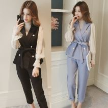 Women's large Summer 2020, spring 2020 Black [three piece suit], blue [three piece suit], single pants Big M [80-100 Jin], big l [100-120 Jin], big XL [115-130 Jin], big 2XL [130-150 Jin], big 3XL [150-170 Jin], big 4XL [170-190 Jin], slim fit, loose, it is recommended to take a big one Vest commute