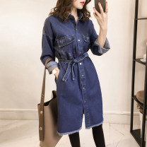 Women's large Autumn of 2018, winter of 2018 Picture color Big L 105-120kg, big 1XL 125-150kg, big 2XL 145-170kg, big 3XL 165-190kg, big 4XL 190-210kg, XXS shirt singleton  commute easy moderate Cardigan Long sleeves other Korean version Polo collar Medium length Denim routine 25-29 years old