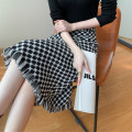 skirt Spring 2021 S,M,L,XL Black and white Mid length dress commute High waist A-line skirt lattice Type A 25-29 years old Wool Furneereal / fuliyou polyester fiber zipper Simplicity