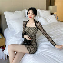 Dress Autumn 2020 Picture color 9222 S. M, l suggest under 116 kg Short skirt singleton  Long sleeves routine Hollowing out
