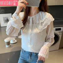 Lace / Chiffon Autumn of 2019 White (sling) S M L XL 2XL Long sleeves commute Cardigan Two piece set Self cultivation Regular other Solid color pagoda sleeve 18-24 years old Ooxxship / eurostorage O19E055 Three dimensional decorative lace with pleated stitching Korean version Other 100%