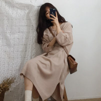 Dress Autumn of 2018 Navy, apricot One size fits all, XXXs pre-sale Mid length dress other three quarter sleeve Crew neck Loose waist Solid color other Others 18-24 years old Other / other More than 95% acrylic fibres