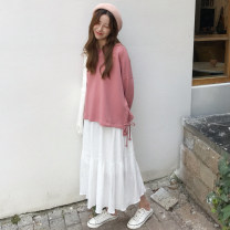 Fashion suit Autumn of 2018 One size fits all, XXXs pre-sale Pink sweater piece, white skirt piece 18-25 years old Other / other