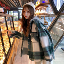 woolen coat Winter of 2018 One size fits all, XXXs pre-sale Red, khaki, green other 31% (inclusive) - 50% (inclusive) routine Long sleeves commute Single breasted other Hood lattice Korean version Other / other 18-24 years old Pocket, button