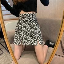 skirt Autumn 2020 Black, coffee Short skirt Versatile High waist A-line skirt Leopard Print Type A 18-24 years old 30% and below Other / other polyester fiber