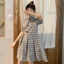 Dress Summer of 2019 Sling, short sleeve One size fits all, XXXs pre-sale Mid length dress singleton  Sleeveless commute square neck High waist lattice Socket other other camisole 18-24 years old Type H Other / other Korean version 30% and below other