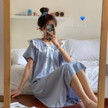 Nightdress Other / other Fog blue. White One size fits all. Spot, XXXs pre-sale Sweet Long sleeves pajamas longuette summer Solid color youth Small lapel other 21% (inclusive) - 40% (inclusive)