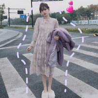 Dress Spring of 2019 Apricot, white, pink One size fits all, XXXs pre-sale Mid length dress singleton  Long sleeves commute Doll Collar High waist other Socket other other Others 25-29 years old Type A Other / other Korean version Lace 81% (inclusive) - 90% (inclusive) other