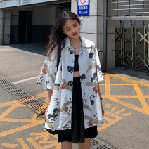 Lace / Chiffon Summer 2020 White, black, green One size fits all, XXXs pre-sale Short sleeve commute Cardigan singleton  easy Medium length Polo collar other routine 18-24 years old Print, button Korean version 30% and below