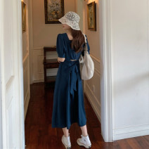 Dress Summer 2020 Black, lake blue One size fits all, XXXs pre-sale Mid length dress singleton  Short sleeve commute square neck Socket 18-24 years old Korean version 30% and below Chiffon