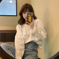 shirt Picture color One size fits all, XXXs pre-sale Spring 2021 other 51% (inclusive) - 70% (inclusive) Long sleeves commute Regular other Socket routine Solid color 18-24 years old Straight cylinder Korean version Lotus leaf edge