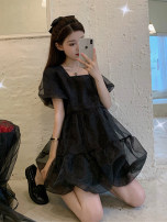 Dress Summer 2020 White, black S. M, l, XXS pre-sale Short skirt singleton  Short sleeve commute square neck High waist Solid color other Princess Dress puff sleeve Others 18-24 years old Type A Korean version 30% and below other